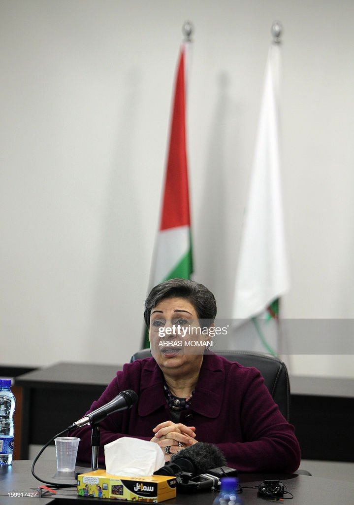 Palestine Liberation Organisation (PLO) executive committe member Hanan Ashrawi speaks during a press conference in the West Bank city of Ramallah, on January 23, 2013, a day after Israelis went to the polls to elect a new leader. Israel's elections, which saw an even split between rightwing and centre-left blocs, are unlikely to produce a coalition bent on reviving peace talks, Ashrawi said.