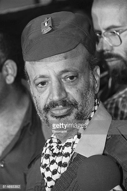 Palestine Liberation Organization chairman Yasser Arafat speaks at a press conference to announce the PLO's move out of their Tripoli Lebanon...