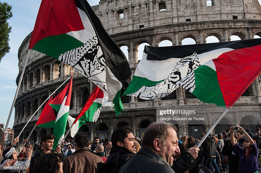 Palestine supporters join the students as they protest during a national general strike against the austerity policy in Europe on November 24, 2012 in Rome, Italy. Students in Italian cities protested against cuts to the education budget and school reforms in the first major student demonstrations since the beginning of the school year. Demonstrators across Italy have been protesting the austerity measures taken by their government in the wake of the Eurozone's financial crisis.
