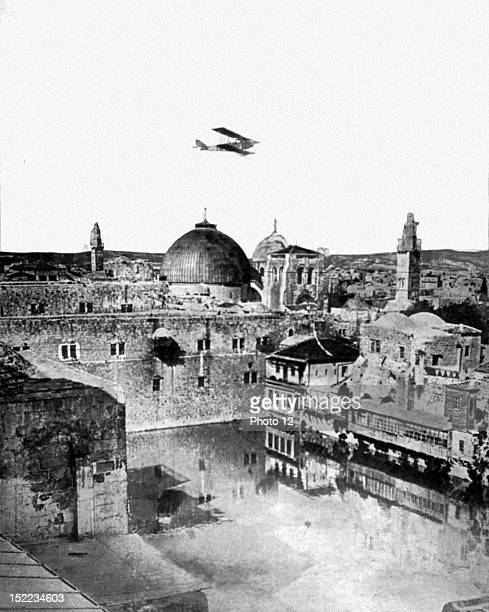 Palestine World War I English plane flying over the Omar mosque in Jerusalem after its liberation