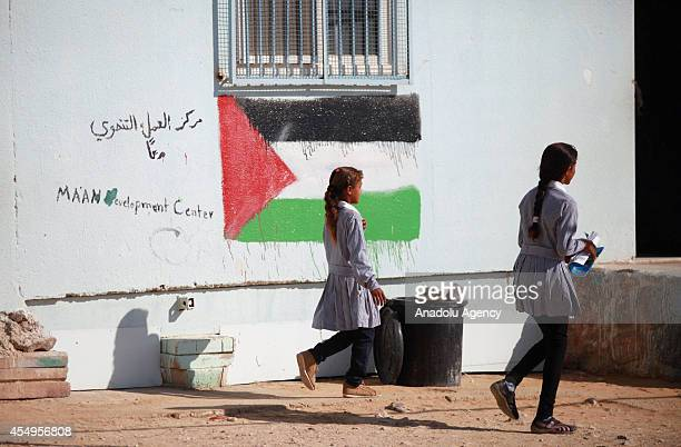 Palestinian 64 students have education at a jerrybuilt school facing the risk of being demolished by Israeli authorities due to its unauthorized...