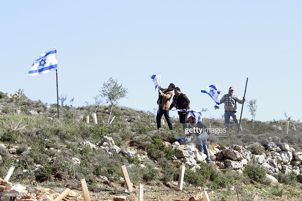 Palestinian activists remove Israeli flags during a protest against what they say is Israel's denial of access to their farmland, in the village of Khirbet Zakaria, near the settlement bloc of Gush Etzion, on February 4, 2013. AFP PHOTO/MUSA AL SHAER
