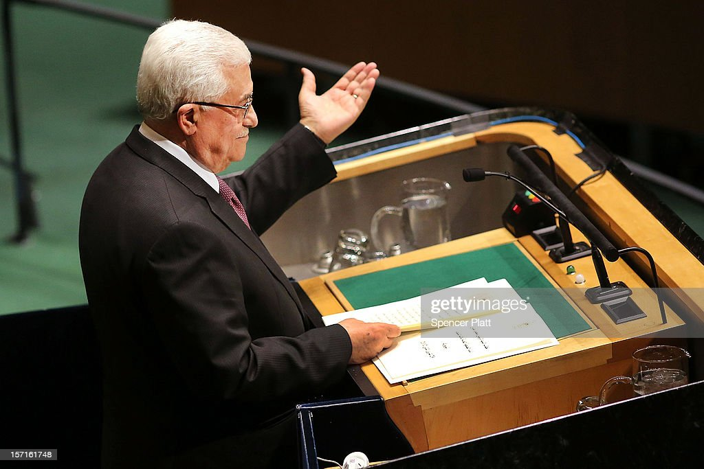 Palestinian Authority President Mahmoud Abbas addresses the General Assembly at the United Nations before a UN General Assembly vote on upgrading the status of the Palestinians to non-member observer state on November 29, 2012 in New York City. With many European nations in favor, it looks certain that the Palestinians will win the coveted U.N. recognition as a state today.