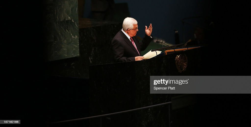 Palestinian Authority President <a gi-track='captionPersonalityLinkClicked' href=/galleries/search?phrase=Mahmoud+Abbas&family=editorial&specificpeople=176534 ng-click='$event.stopPropagation()'>Mahmoud Abbas</a> addresses the General Assembly at the United Nations before a UN General Assembly vote on upgrading the status of the Palestinians to non-member observer state on November 29, 2012 in New York City. With many European nations in favor, it looks certain that the Palestinians will win the coveted U.N. recognition as a state today.