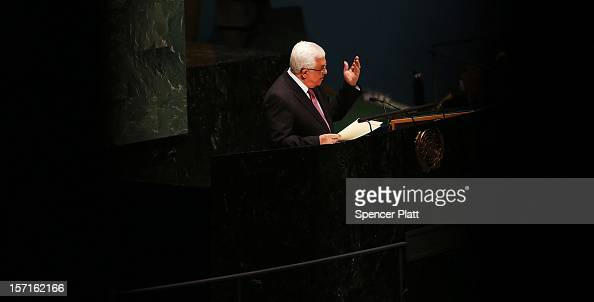Palestinian Authority President Mahmoud Abbas addresses the General Assembly at the United Nations before a UN General Assembly vote on upgrading the...
