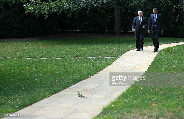 Palestinian Authority President Mahmoud Abbas leaves the Oval Office after a bilateral meeting with US President Barack Obama September 1 2010 at the...