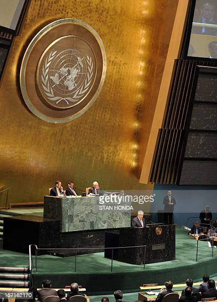 Palestinian Authority President Mahmoud Abbas speaks to the United Nations General Assembly before the body votes on a resolution to upgrade the...