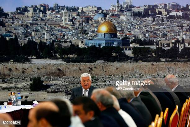 TOPSHOT Palestinian Authority president Mahmud Abbas addresses a meeting of the Palestinian leadership in the West Bank city of Ramallah on July 21...