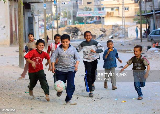 Palestinian Boys Play Game Of Soccer May 30 2002 In The Gaza Strip's Rafah Refugee Camp Despite Fifa The World's Soccer Governing Body Giving The...