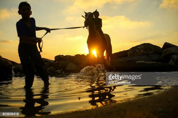 Palestinian boys play with a horse by the beach in Gaza City during a hot afternoon on August 2 2017 / AFP PHOTO / MOHAMMED ABED