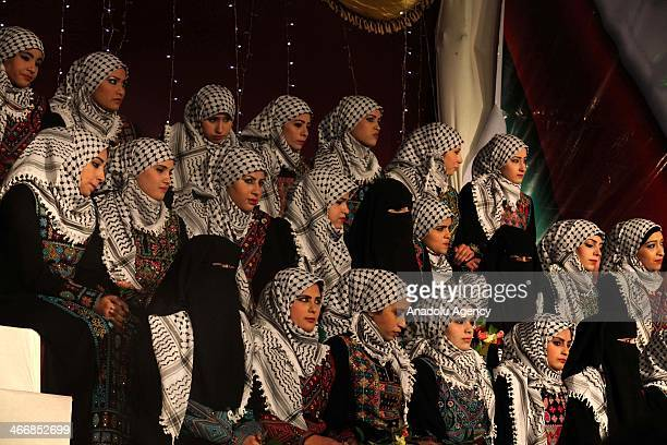 Palestinian brides are seen during a collective wedding ceremony in Gaza City on February 4 2014