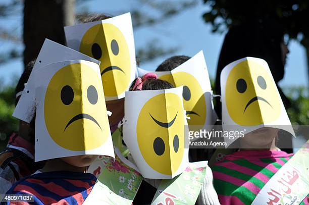 Palestinian children take part in a 'fun day' event in the Gaza Strip on March 27 2014 Held under the banner 'Support the children of Gaza and...
