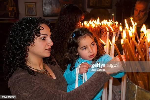 Palästinensische Christen in der Geburtskirche, Bethlehem