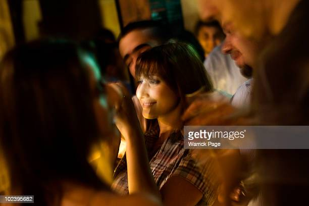 Palestinian couple take a photo of themselves in the Orjuwan Lounge on June 24 2010 in Ramallah West Bank Nightlife in Ramallah is on the rise as...