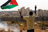 A Palestinian demonstrator waves his national flag as he flashes the sign for victory during clashes with Israeli security personnel in the village...