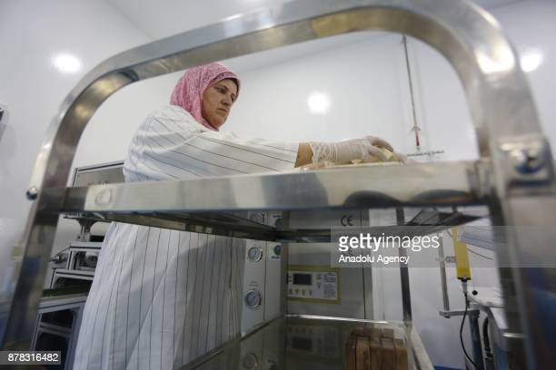 Palestinian entrepreneur Ihlas Savalihe 46yearold works at her factory 'Palestinian House of Soap SIBA' in Jericho West Bank on November 24 2017...