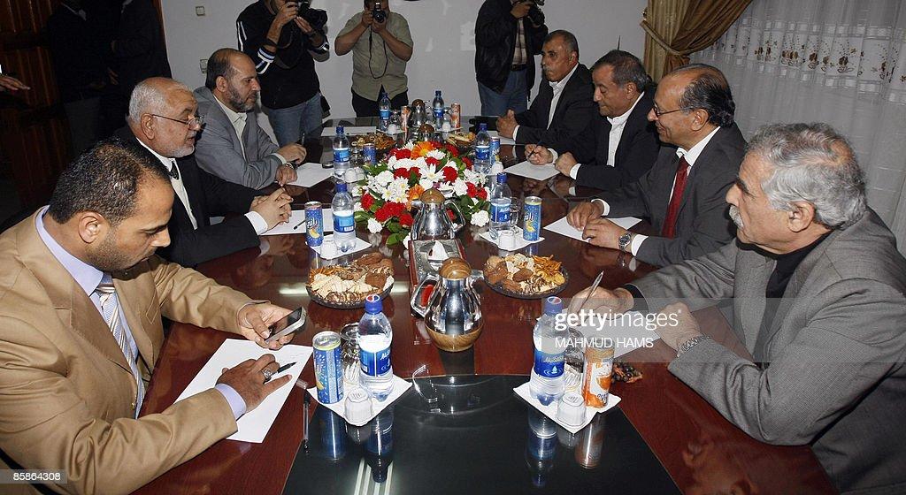 Palestinian Fatah officials Ibrahim Abu alNaja Abdullah alIfranji Marwan Abdul Hamid and Hisham Abdul Raziq meet with Hamas officials Ayman Taha...