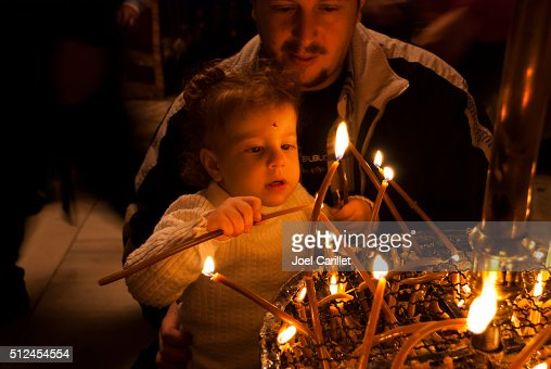 Palestinian father and child inside Church of the Nativity, Bethlehem