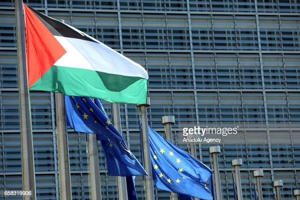 Palestinian flag is seen on a flag pole outside the European Commission building before Palestinian President Mahmoud Abbas meets President of the...