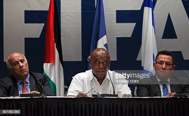 Palestinian Football Association president Jibril Rajoub Chairman of the FIFA Monitoring Committee IsraelPalestine Tokyo Sexwale and Israel's...