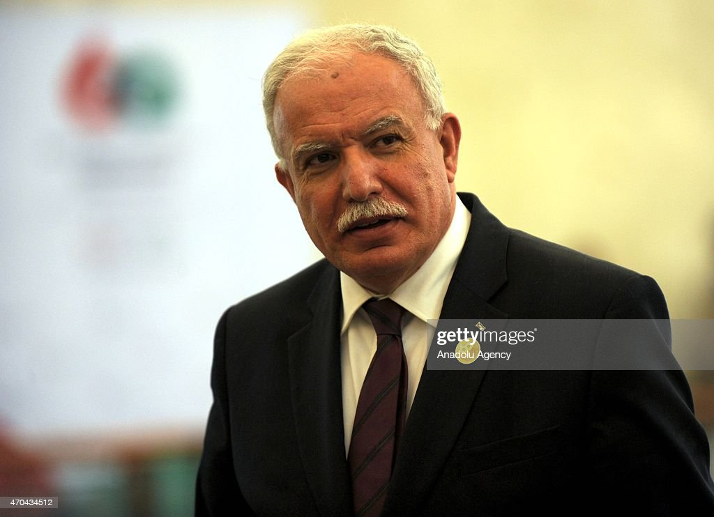 Palestinian Foreign Affairs Minister <a gi-track='captionPersonalityLinkClicked' href=/galleries/search?phrase=Riyad+al-Maliki&family=editorial&specificpeople=4534561 ng-click='$event.stopPropagation()'>Riyad al-Maliki</a> is seen the meeting room during the 60th Asia Africa Ministerial Meeting in Jakarta, Indonesia on 20 April 2015. The 60th Asian-African Conference is being held in Jakarta and Bandung from 19 to 24 April 2015.