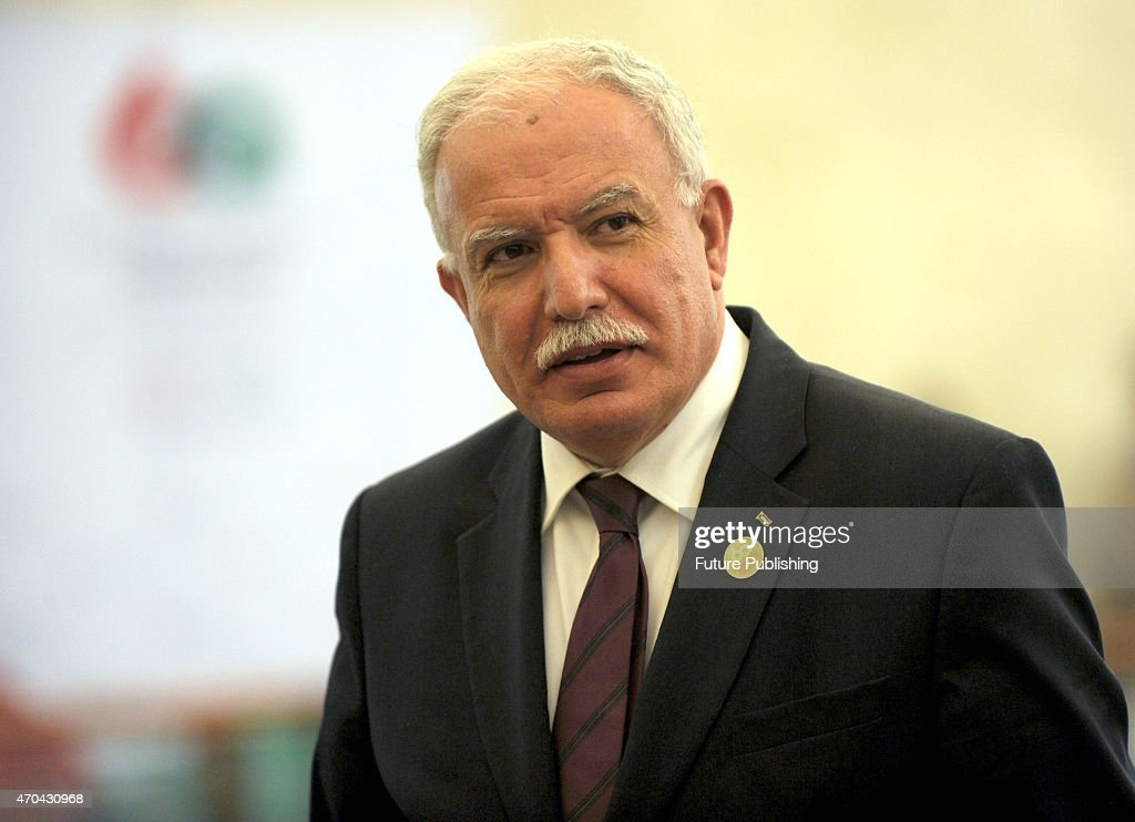 Palestinian Foreign Affairs Minister Riyad al-Malki seen walking towards the meeting room during the 60th Asia-African Conference on April 20, 2015 in Jakarta, Indonesia. The 60th Asian-African Conference began on 19 April in Jakarta and Bandung. Jefta Images / Barcroft Media