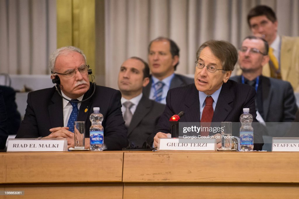 Palestinian Foreign Minister Riad Malki (L) attends a ministerial committee with Italian Foreign Minister Giulio Terzi at Farnesina on November 23, 2012 in Rome, Italy. Riad Malki announced that from now on Palestine will participate in the United Nations' meetings as an observer.