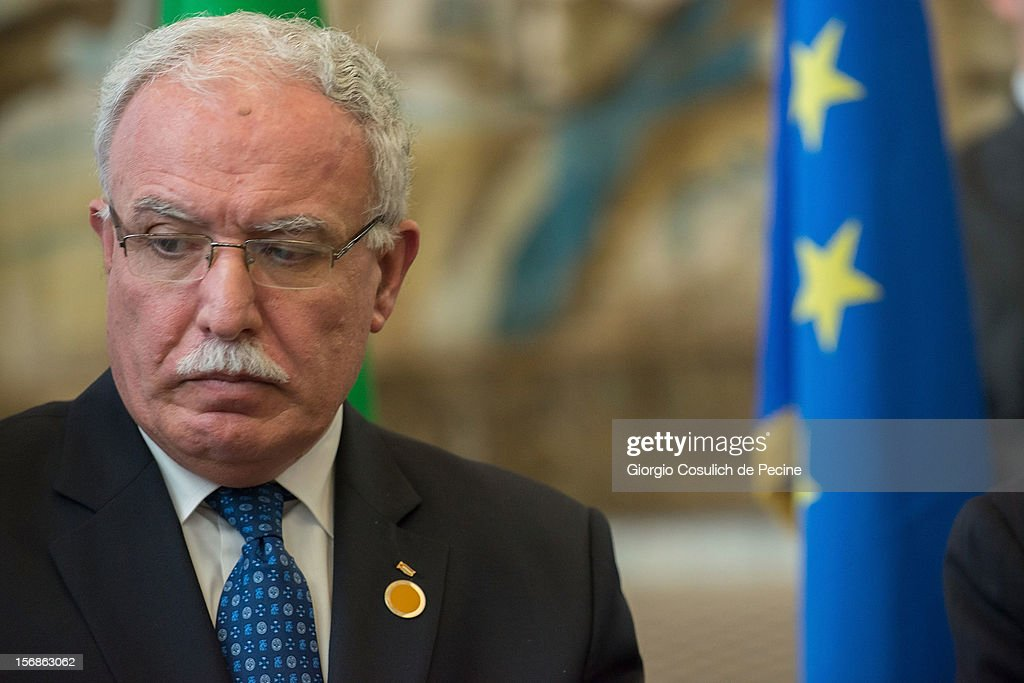 Palestinian Foreign Minister Riad Malki attends a ministerial committee with Italian Foreign Minister Giulio Terzi at Farnesina on November 23, 2012 in Rome, Italy. Riad Malki announced that from now on Palestine will participate in the United Nations' meetings as an observer.