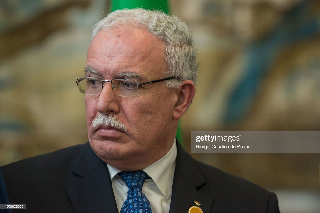 Palestinian Foreign Minister Riad Malki attends a ministerial commitee with Italian Foreign Minister Giulio Terzi at Farnesina on November 23, 2012 in Rome, Italy. Riad Malki announced that from now on Palestine will participate in the United Nations' meetings as an observer.
