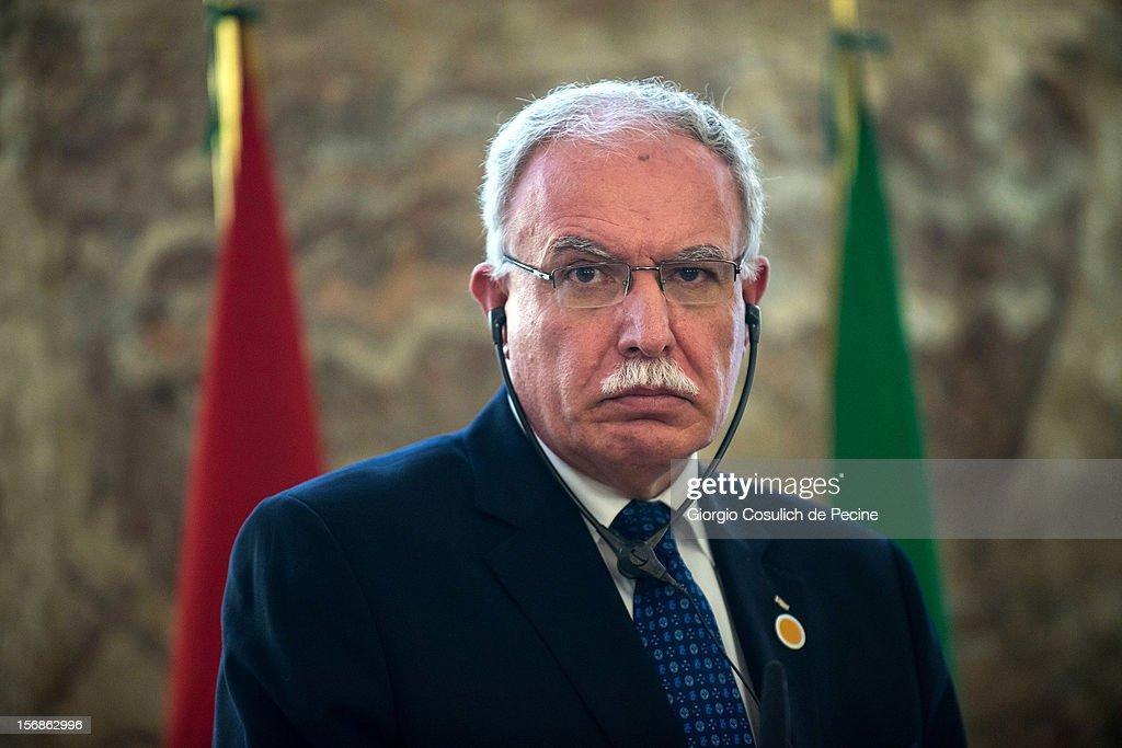 Palestinian Foreign Minister Riad Malki attends a press conference after a ministerial commitee with Italian Foreign Minister Giulio Terzi at Farnesina on November 23, 2012 in Rome, Italy. Riad Malki announced that from now on Palestine will participate in the United Nations' meetings as an observer.