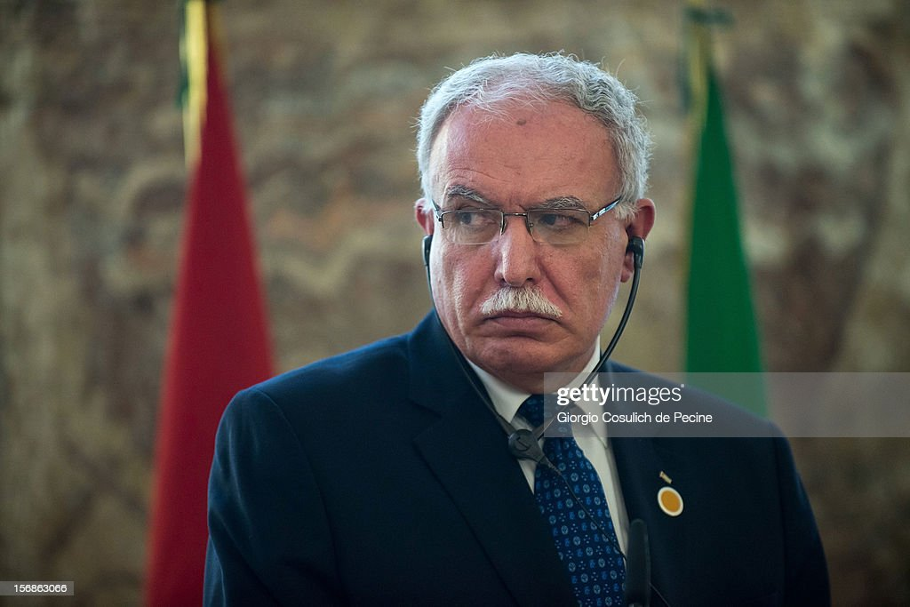 Palestinian Foreign Minister Riad Malki attends a press conference during a ministerial committee with Italian Foreign Minister Giulio Terzi at Farnesina on November 23, 2012 in Rome, Italy. Riad Malki announced that from now on Palestine will participate in the United Nations' meetings as an observer.