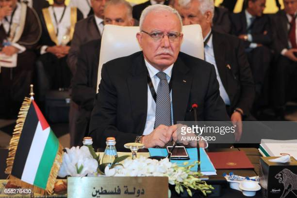Palestinian Foreign Minister Riyad alMaliki attends the preparatory meeting of Arab Foreign Ministers during the 28th Summit of the Arab League at...
