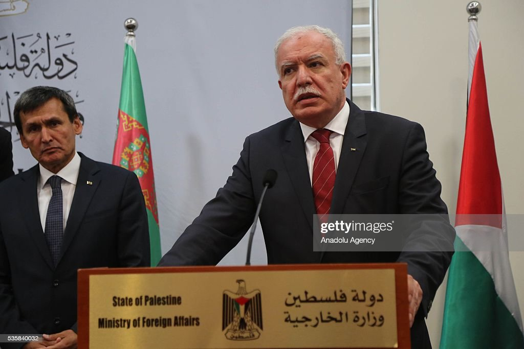 Palestinian Foreign Minister Riyad al-Maliki (R) delivers a speech during a joint press conference with Turkmenistan's Foreign Minister Rasit Meredow (L) at the Foreign Ministry in Ramallah, West Bank on May 30, 2016.