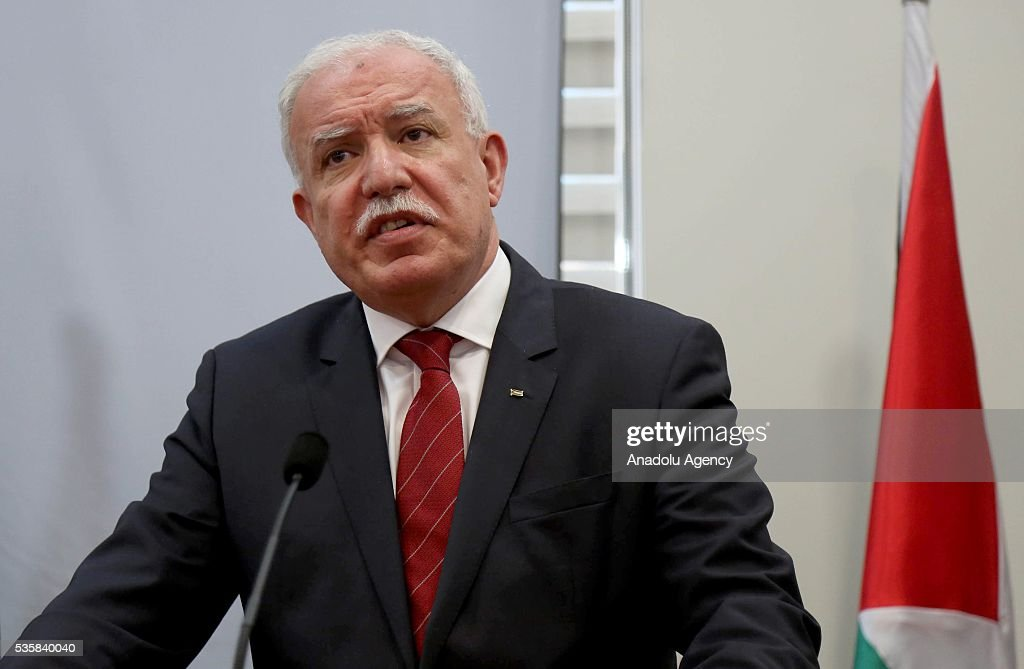 Palestinian Foreign Minister Riyad al-Maliki delivers a speech during a joint press conference with Turkmenistan's Foreign Minister Rasit Meredow (not seen) at the Foreign Ministry in Ramallah, West Bank on May 30, 2016.