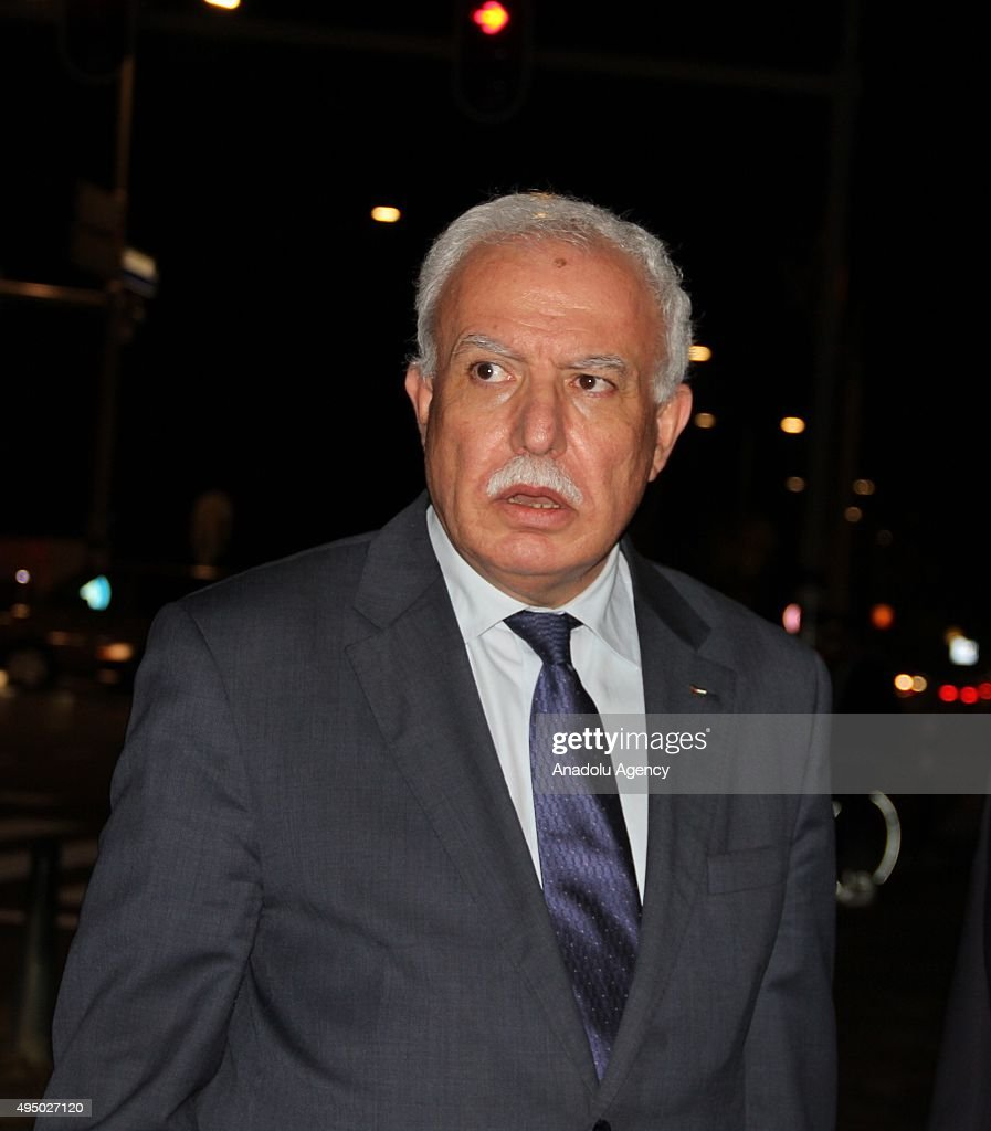 Palestinian Foreign Minister <a gi-track='captionPersonalityLinkClicked' href=/galleries/search?phrase=Riyad+al-Maliki&family=editorial&specificpeople=4534561 ng-click='$event.stopPropagation()'>Riyad al-Maliki</a> leaves after a meeting with Fatou Bensouda, the chief prosecutor of the International Criminal Court, in The Hague, Netherlands on October 30, 2015.