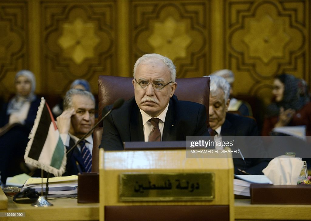 Palestinian Foreign Minister Riyad al-Malki attends a meeting at the Arab League headquarters in Cairo on March 9, 2015. Arab League chief Nabil al-Arabi called for the creation of a unified Arab force to battle the spread of Islamic extremist groups.