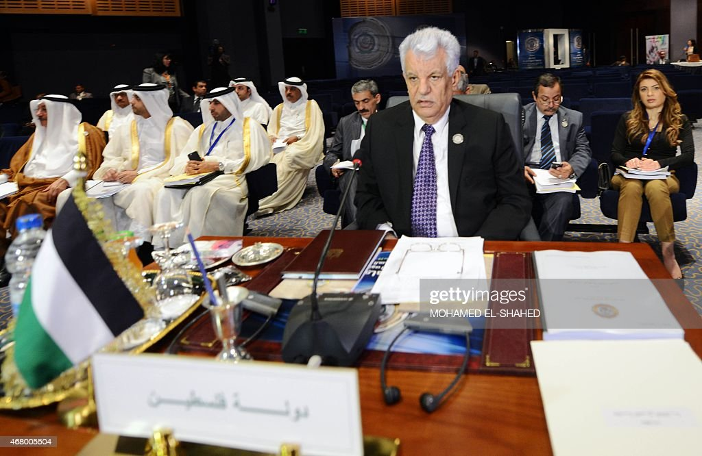 Palestinian Foreign Minister Riyad al-Malki attends the closing session of the Arab League summit in the Egyptian Red Sea resort of Sharm El-Sheikh on March 29, 2015. Egyptian President Abdel Fattah al-Sisi announced that Arab leaders have agreed to form a joint military force, on the second and final day of the summit.