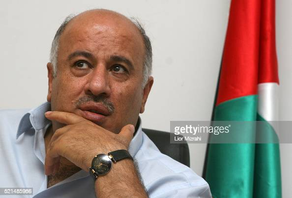 Palestinian General Jibril Rajoub national security advisor of the Palestinian Authority speaks during an interview on July 05 2006 in Ramallah West...