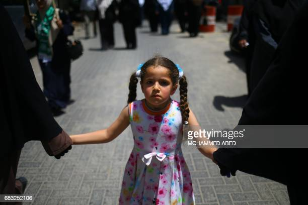 Palestinian girl attends a rally to commemorate the 69th anniversary of the 'Nakba' in Gaza City on May 15 2017 'Nakba' means in Arabic 'catastrophe'...