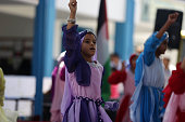 Palestinian girls play during UNrun summer fun games weeks in Gaza City July 23 2016 Tens of thousands of children from the Gaza Strip spend at least...