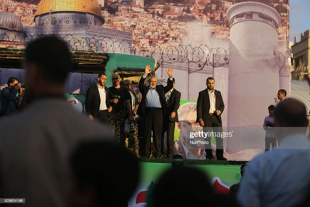 Palestinian Hamas leader in Gaza Ismail Haniyeh waves to his supporters during an anti-Israeli rally in Gaza city on April 28, 2016.