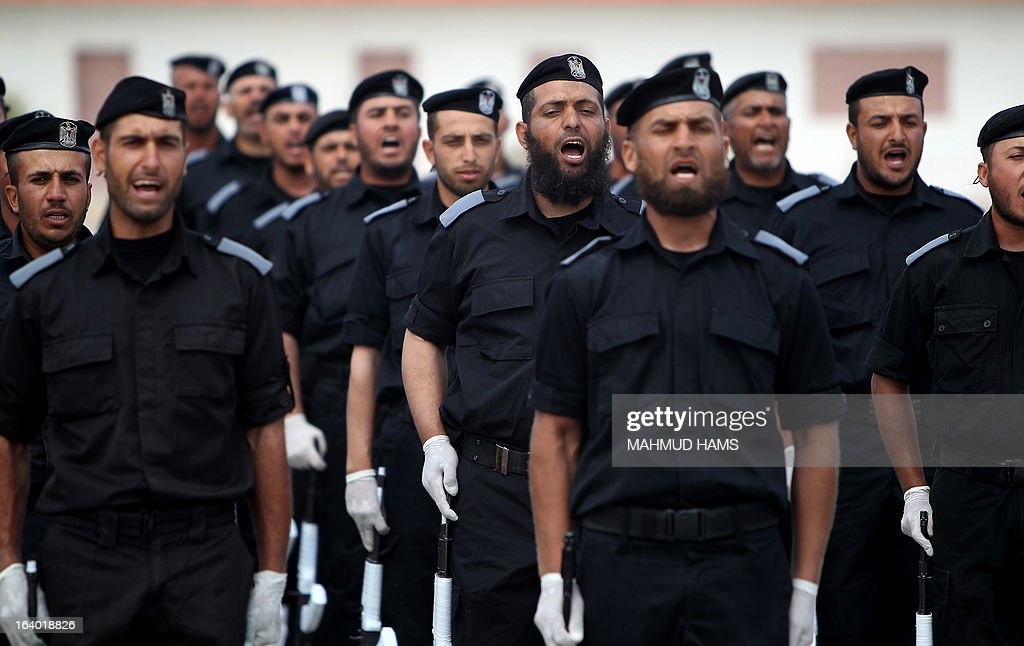 Palestinian Hamas security forces march during their graduation ceremony in Gaza City on March 19, 2013.