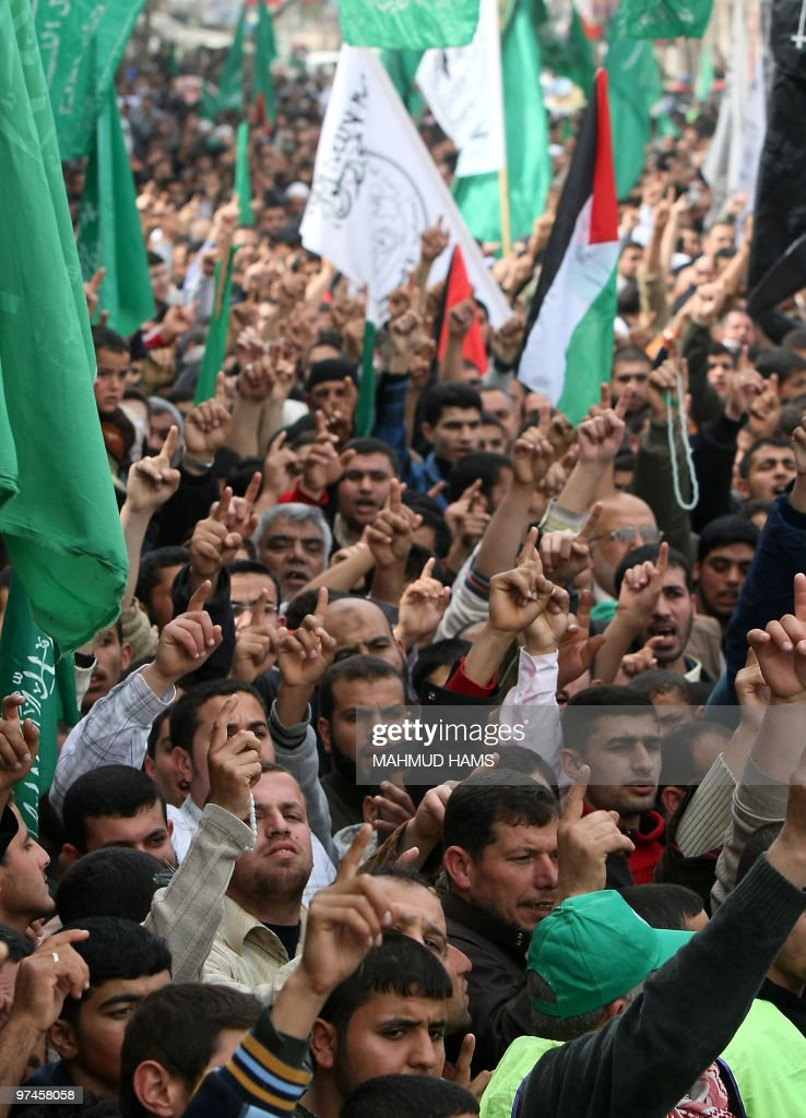 Palestinian Hamas supporters take part in a rally in the northern Gaza Strip refugee camp of Jabalia on March 5 2010 to protest against an Israeli...
