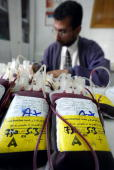 Palestinian laboratory worker prepares blood units contributed by Palestinians at Shifa hospital in Gaza City in the Gaza Strip on March 18 2003 The...
