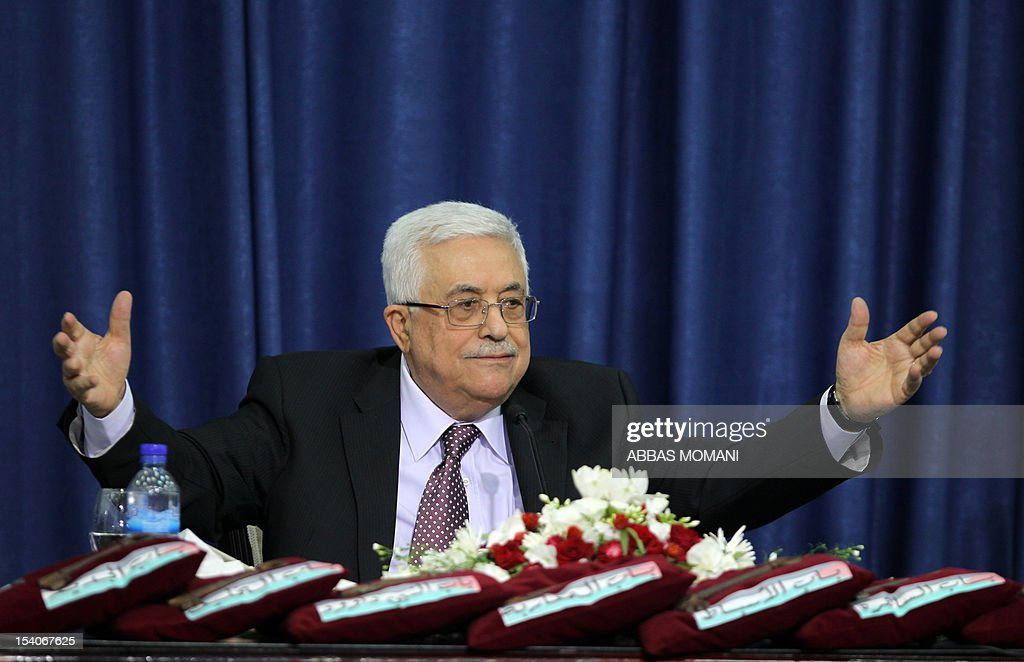 Palestinian leader Mahmoud Abbas gives a speech in the West Bank city of Ramallah after he was given the keys to Jerusalem by families living in the holy city on October 13, 2012.