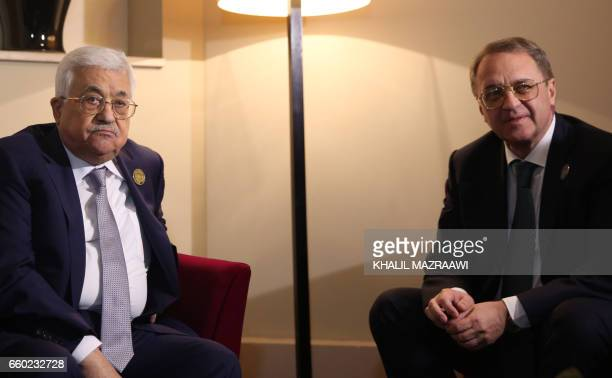 Palestinian leader Mahmud Abbas meets with Mikhail Bogdanov Russian deputy foreign minister and representative to the Arab League during the Arab...