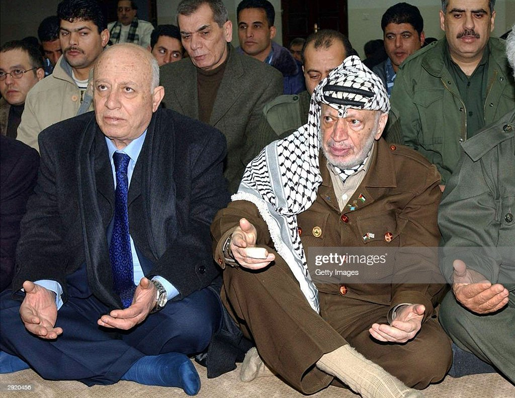 palestinian leader yasser arafat Palestinian leader yasser arafat, listens on during a joint press conference with norwegian foreign minister and mitchell committee member thorbjoern jagland in arafat's office, in the gaza strip 24 september 2001.