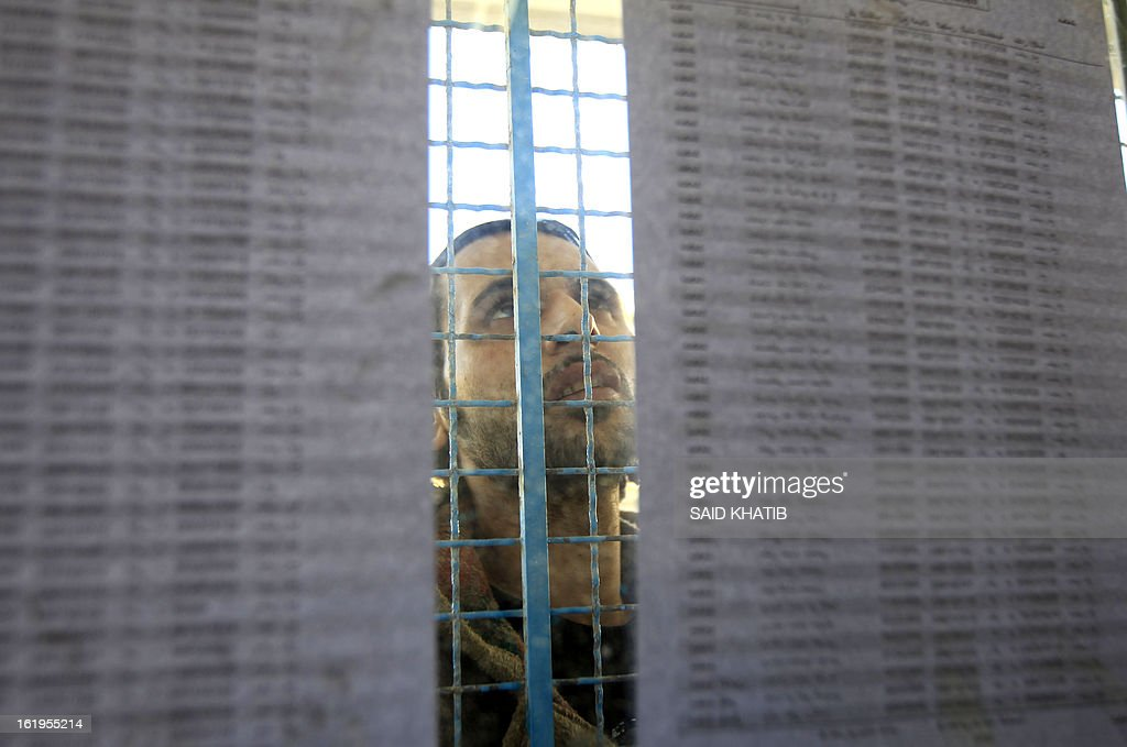 A Palestinian man looks for his name on the electoral lists at a registration point in a school in Rafah town in the southern Gaza Strip on February 18, 2013. Palestinian electoral officials extended for two additional days the process of updating voter rolls in the West Bank and Gaza After a week of beginning registration in a vital step towards eventual elections. AFP PHOTO/ SAID KHATIB