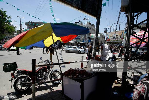 Palestinian man sells candy in the street of Rafah town in the southern Gaza Strip