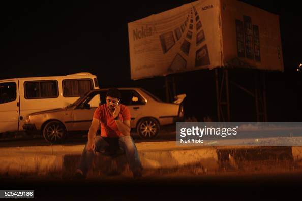 Palestinian man sits on the side road near Beit Furik village after Israeli military closed the road in front of Palestinians Nablus west bank The...